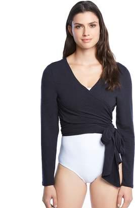 Danskin Women's Side Tie Long Sleeve Wrap