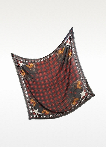 Givenchy Doberman Tartan Wool Print Wrap