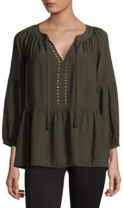 Liz Claiborne 3/4 Sleeve Split Neck Studded Blouse