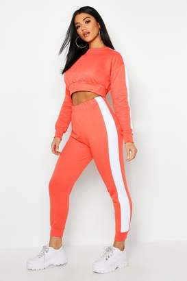 boohoo Side Stripe Cropped Sweat And Jogger Set