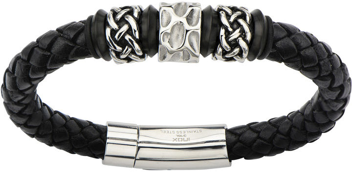 Celtic SheepskinFINE JEWELRY Mens Black Braided Leather and Stainless Steel Celtic Knot Bracelet