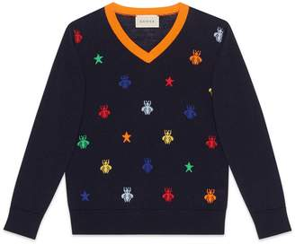Gucci Children's bees and stars jacquard merino sweater