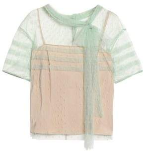 RED Valentino Pussy-Bow Pleated Point D'esprit Blouse