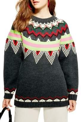 Topshop Fluro Fair Isle Sweater