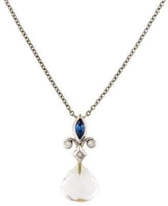 18K White Topaz, Diamond & Sapphire Fleur de Lis Necklace
