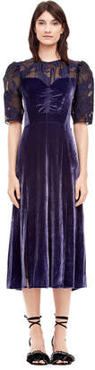 Velvet & Floral Organza Dress
