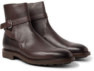 Edward Green Gresham Buckled Textured-Leather Boots