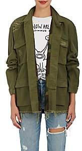 R 13 Women's Abu Distressed Cotton Canvas Jacket-Dk. Green