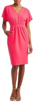 Wrapper Women's Crepe Cinched Waist Dress