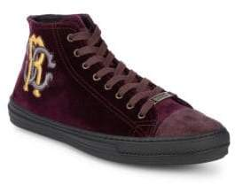 Roberto Cavalli Velvet High-Top Sneakers