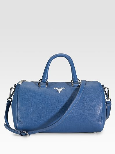 Prada Pebbled Leather Round Satchel