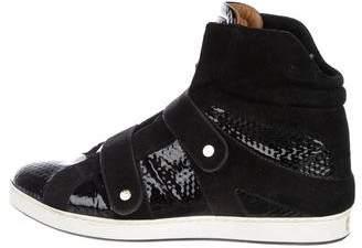 Jimmy Choo Round-Toe High-Top Sneakers