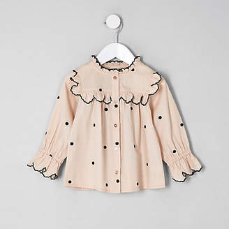 River Island Mini girls Cream poplin polka dot swing shirt