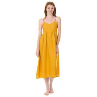 Zen Ethic - Linen Summer Dress in Mustard - LARGE - Yellow