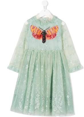 Gucci Kids embellished moth lace dress