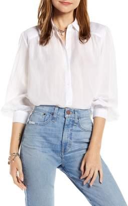 Something Navy Sheer Button-Up Shirt