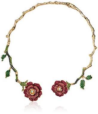 Betsey Johnson GBG) Rose Hinged Collar Necklace
