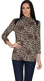 Susan Graver Printed Liquid Knit Mock Neck Topw/ Solid Insets