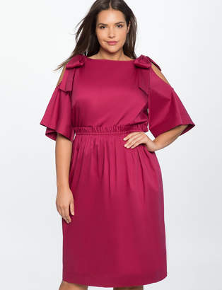 Bow Tie Cold Shoulder Dress