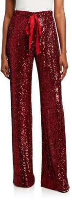 Naeem Khan Sequined Tie-Waist Pant, Red