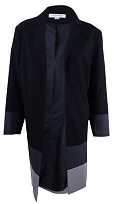 Calvin Klein Women's Plus Size Long Colorblcok Jacket