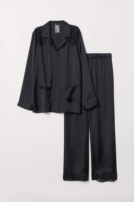 H&M Pajama Shirt and Pants - Black