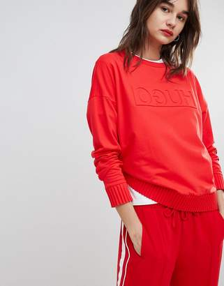 HUGO Reverse Signature Sweater in Red