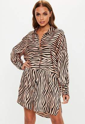 Missguided Nude Zebra Oversized Drop Back Shirt Dress