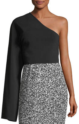 SOLACE London One-Shoulder Long-Sleeve Knit Top