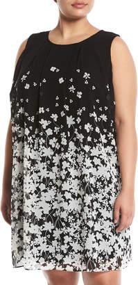 Iconic American Designer Ombre-Floral A-Line Dress, Plus Size