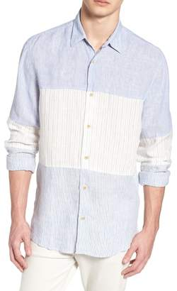 French Connection Relaxed Fit Stripe Linen & Cotton Sport Shirt