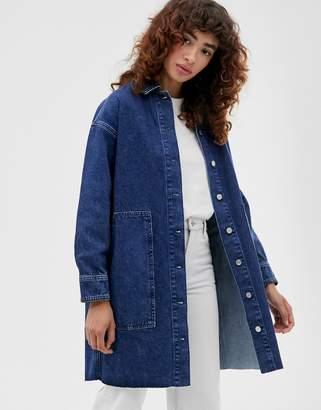 Selected mid blue denim shirt