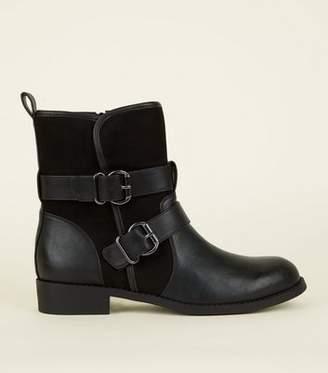 41efa609e1830 New Look Black Buckle Strap Biker Boots