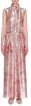 Giorgio Armani Sleeveless Mock-Neck Floral-Print Satin Gown