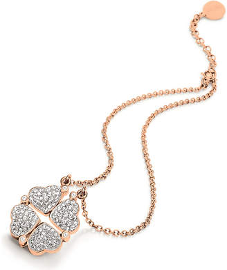 Folli Follie Heart4heart magnetic rose gold-plated crystal necklace
