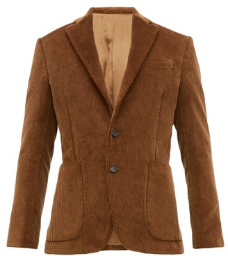 Salle Salle Esben Cotton Corduroy Suit Jacket - Mens - Brown