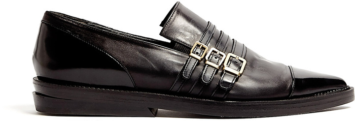 Robert Clergerie Lucas Buckle Pointed Flat Loafers