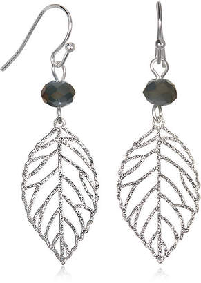 MIXIT Mixit Silver-Tone Filigree Leaf Drop Earrings