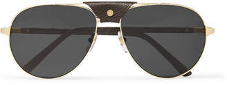 Cartier Eyewear Aviator-Style Leather-Trimmed Gold-Tone Sunglasses