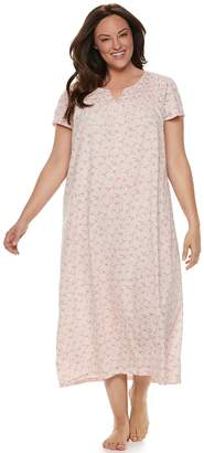 Croft & Barrow Plus Size Smocked Long Nightgown