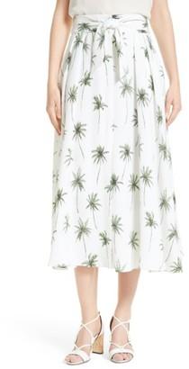 Women's Milly Palm Tree Print Cady Midi Skirt $535 thestylecure.com