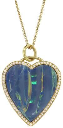 Jennifer Meyer Opal Inlay Diamond Heart Necklace