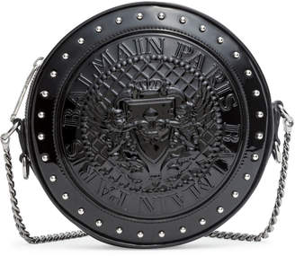 Balmain Disco round black patent cross-body bag