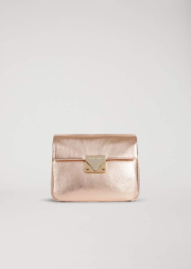 EMPORIO ARMANI laminated leather crossbody bag