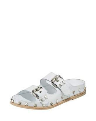 Stuart Weitzman Sandbar Embellished Flat Napa Slide Sandal