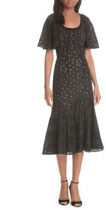 Rebecca Taylor Sarah Silk Eyelet Midi Dress