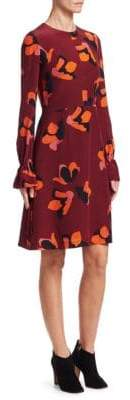 Akris Punto Anemome-Print Silk A-Line Dress