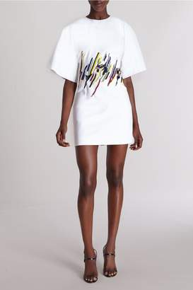 Cushnie White Viona Kimono Sleeve Mini Dress