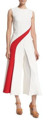 Ralph Lauren Collection Brielle Two-Tone Cropped Jumpsuit, Off White $3,590 thestylecure.com