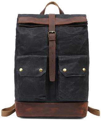 EAZO - Folded Top Waxed Canvas Backpack With Front Pockets In Black
